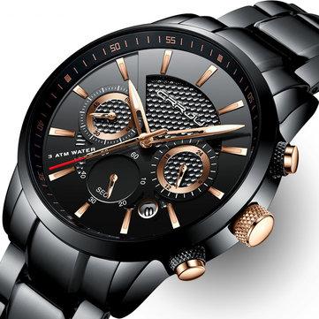 CRRJU 2212 Waterproof Calendar Men Watches Fashionable Stainless Steel Strap Quartz Watch