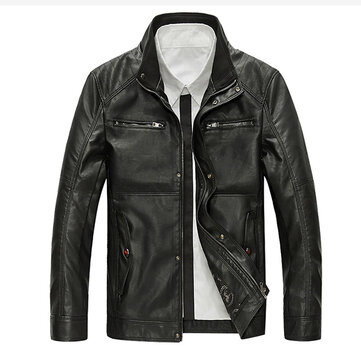 Mens PU Leather Motorcycle Jacket Fashion Casual Stand Collar Multi Pocket Coat