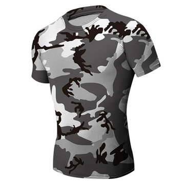 Mens Camouflage Black White Wicking Tees Tight Sports Fitness Training Stretch Running T-shirt