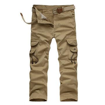 पुरुषों मिलटरी टैक्टिकल कपास लूज पतलून आरामदायक मल्टी पॉकेट कार्गो पैंट