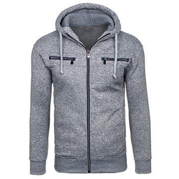 पुरुषों शीतकालीन मोटी फ्लीस हूडीज आरामदायक जिपर ठोस रंग स्लिम फ़िट स्वेटरशर्ट