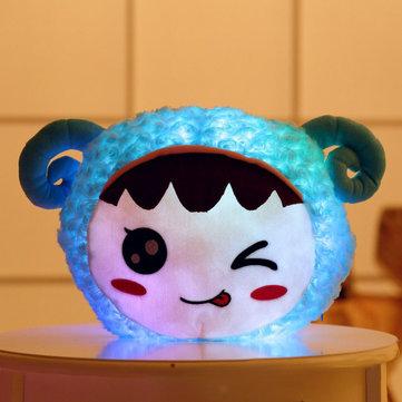 Flashing Plush Enoji Pillow Stuffed Led Light Cute Sheep Toy Luminous Pillow Colorful Animal Doll