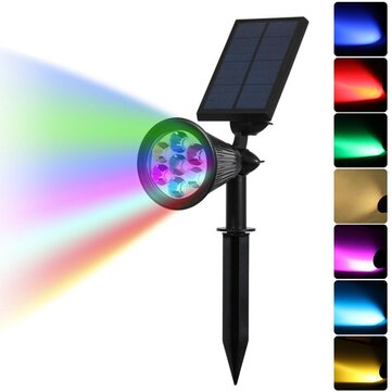Solar Color Changing 7 LED Waterproof Spot Light Outdooor Yard Garden Lawn Landscape Security Lamp