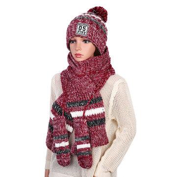 Women's Chic Full Handmade Knitting Three-piece Set Warm Thickened Christmas Knit Hat Scarf Gloves