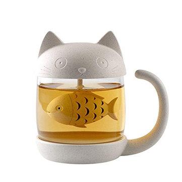 250 ML Kucing Kaca Teh Mug Cangkir Saringan dengan Ikan Teh Infuser Saringan Perlengkapan Rumah Kantor Kopi Susu Mug Hadiah Ulang Tahun Kreatif