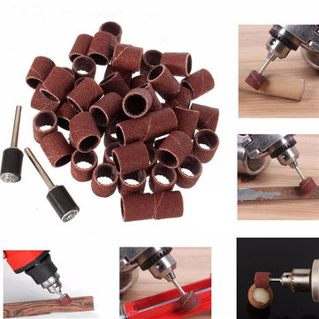 52pcs 80 120 Grit Sanding Drum Sleeves Sander with 2 Mandrels for Dremel Rotary Tool