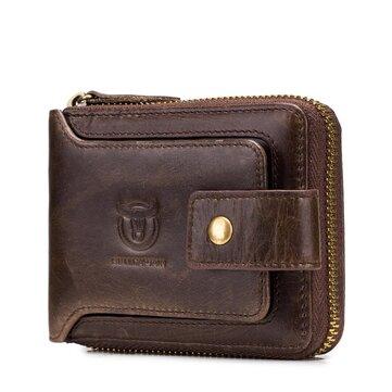 Bullcaptain RFID Antimagnetic Vintage En Cuir Véritable 11 Fentes Pour Cartes Coin Bag Zipper Portefeuille Pour Hommes