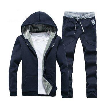 पुरुषों मोटी आकस्मिक खेल जोगर्स ठोस रंग सेट फैशन ट्रैकसूट सूट हुडीज स्वेटशर्ट पैंट