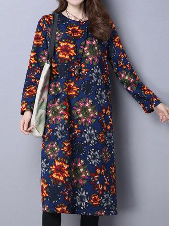 जातीय मुद्रण लंबी आस्तीन मखमली मोटी ढीला महिला पोशाक