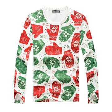 क्रिसमस दस्ताने मुद्रित स्वेटर पुरुषों आरामदायक गोल कॉलर पुलओवर स्वेटर