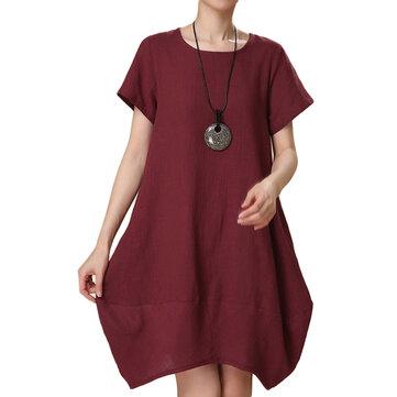 लूज महिला ग्रीष्मकालीन ठोस अनियमित कपास लिनन लालटेन पोशाक