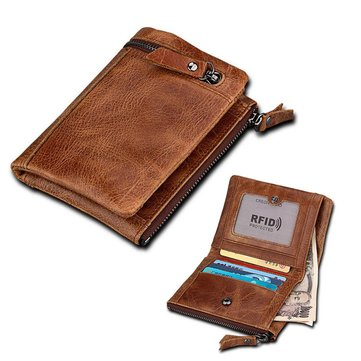 IPRee® Men RFID Blocking Short Wallet Genuine Leather Brown Coin Card Holder Purse