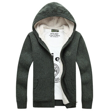 Men's Knitted Polar Fleece Hooded Sweaters Thicken Slim Cut Casual Cardigans Style Opening