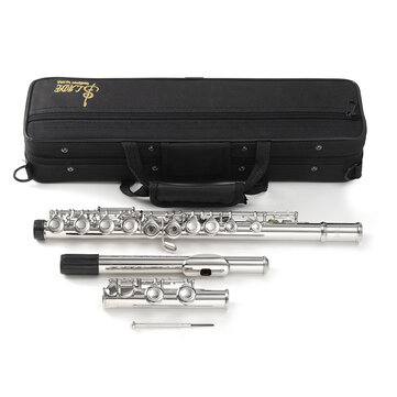 16 Holes C Key Nickel Plated Concert Flute Cupronickel With Case Screwdriver Set