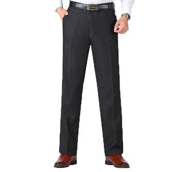 Traje de negocios informal de otoño invierno para hombres Pantalones Frente de color sólido flojo y grueso Falso Pantalones