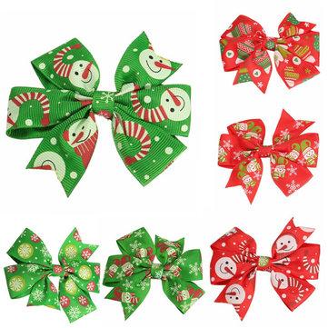 Lovely Baby Girls Christmas Hair Clips Hårnålar Bowknot Xmas Tillbehör 6 Olika Patterns