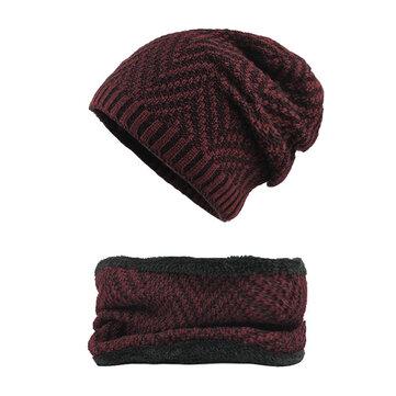 Winter Thicken Plus Gorros de terciopelo con bufanda Set Warm Double Layers Knitted Sombrero
