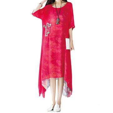 सुरुचिपूर्ण महिला कढ़ाई मुद्रित अनियमित हेम स्तरित कपड़े