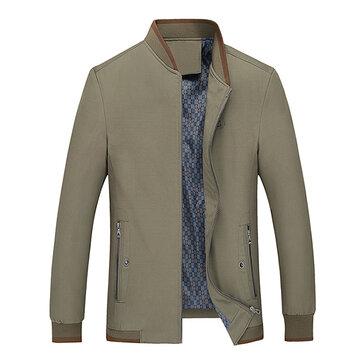 पुरुषों वसंत गिरने आरामदायक व्यापार स्टैंड कॉलर ठोस रंग कोट जैकेट
