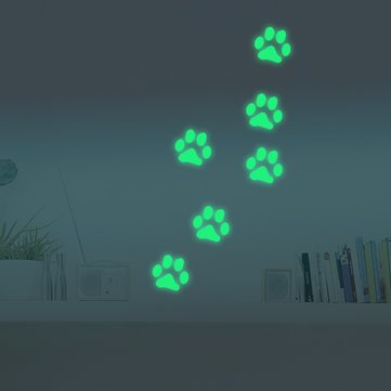 Honana DX-141 6PCS 8.5x8.5cm Fluorescent Glow Dog Footprint Wall Sticker