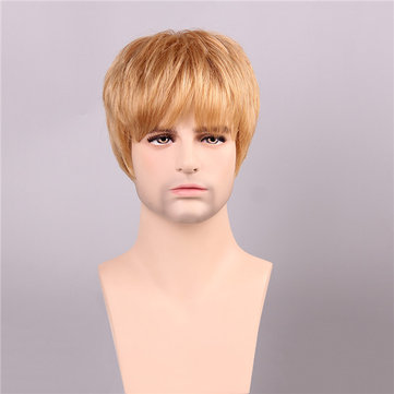 Men Human Hair Wigs Golden Brown with Blonde Short Mono Top Male Virgin Remy Capless
