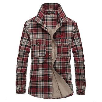 पुरुषों की वसंत शरद ऋतु प्लेड मुद्रण लंबी आस्तीन कपास आउटडोर आरामदायक शर्ट