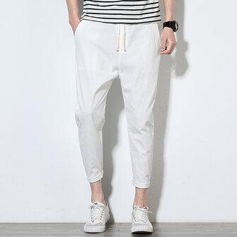 पुरुषों की ग्रीष्मकालीन कपास लिनन ठोस रंग आकस्मिक सीधे पैंट