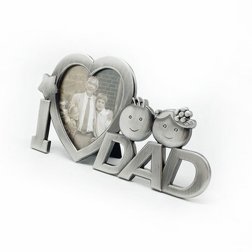 I Love Dad Father's Day Heart Shape Photo Desk Stand Frame Decor