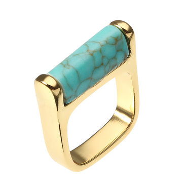 JASSY® 18K Gold Plated Blue Turquoise Ring Vintage Simple Style Fine Jewelry for Women
