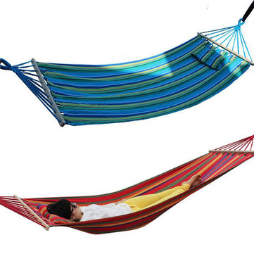 200x80cm Portable Hammock Outdoor Hammock Garden Sports Home Travel Camping Swing Canvas Stripe Hang Bed Hammock With Pillow