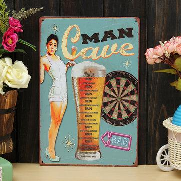 Man Cave Sheet Metal Drawing Metal Painting Tin Bar Pub Wall Tavern Poster Sign