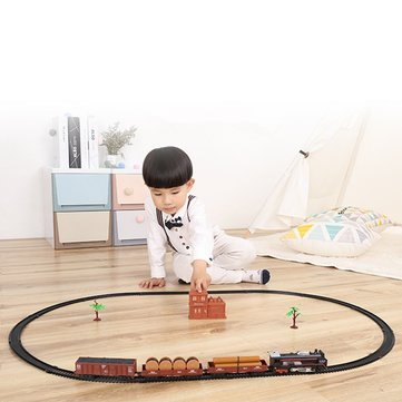 Classic Track Electric Train Set Toys Christmas Gift Real Smoke And Sounds Toy