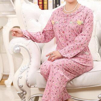 Comfy Floral Printed Long Sleeve Sleepwear Cardigan Leisure Round Neck Nightwear Sets For Women