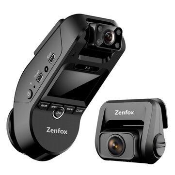 Zenfox T3 2K 3CH Triple Channel Dash Cam Car DVR 1080P Rear Camera Sony Starvis IMX335 Video Recording Support 2.4GHz 5GHz Wifi