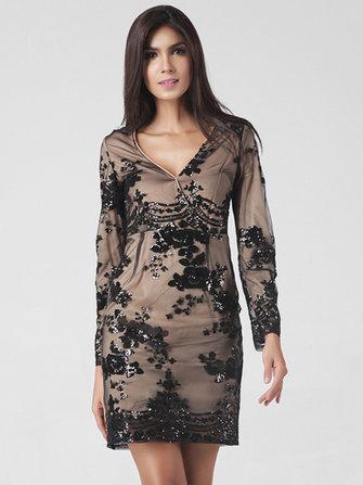 Lztlylzt महिला सेक्सी Sequins वी गर्दन लंबी आस्तीन पैचवर्क मिनी ड्रेस