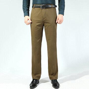 Traje de algodón grueso flojo ocasional de los hombres de la moda Pantalones Pantalones de mediana edad de color puro