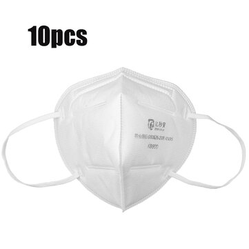 10Pcs KN95 3D Foldable Face Mask 4-layer Dustproof Non-woven Air Filter Breathing Protective Mask