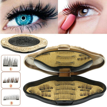 3 Style Magnetic Eyelashes Makeup Reusable Long Natural Eyelashes Extension With Mirror