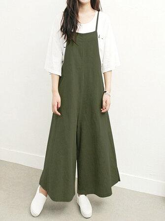 Plusサイズの女性のオーバーオールビブパンツルーズポケットジャンプスーツ