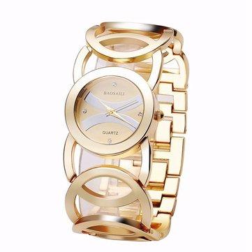 BAOSAILI BSL089 Fashion Mewah Kristal Emas Warna Gaun Jam Tangan Untuk Wanita Wanita Quartz Perhiasan