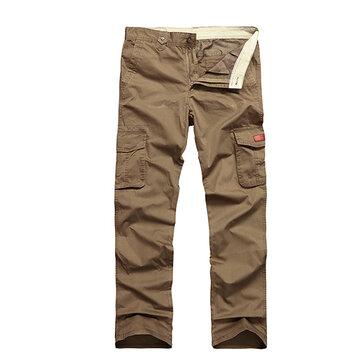 पुरुषों ठोस रंग आउटडोर्स आरामदायक खेल परेशानियों कपास शरद मल्टी पॉकेट कार्गो पैंट