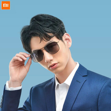 Xiaomi Classic Frame Sunglasses Pro Anti UV Ultra light Gradient Gray Classic Square Stainless Steel Frame Polarized Lens Oil proof