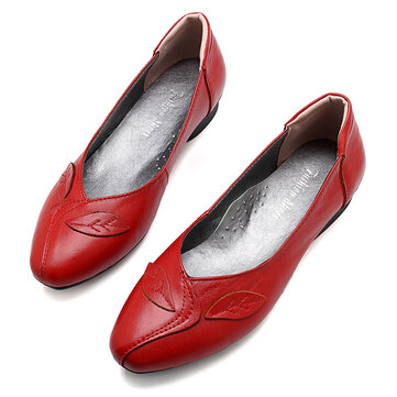 Women Shoes Leaf Comfortable Causal Slip On Flats