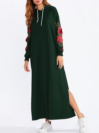Günlük Kadın Çiçekli Nakış Yan Kesim Sonbaharlı Uzun Sweatshirt Elbise