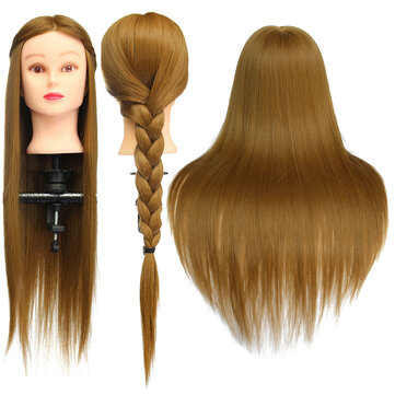 """26"""" Light Brown 30% Human Hair Training Mannequin Head Model Hairdressing Makeup Practice with Clamp"""