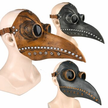 Halloween Cosplay Steampunk Plague Doctor Mask Bird Beak Props Retr Gothic Masks  Silver