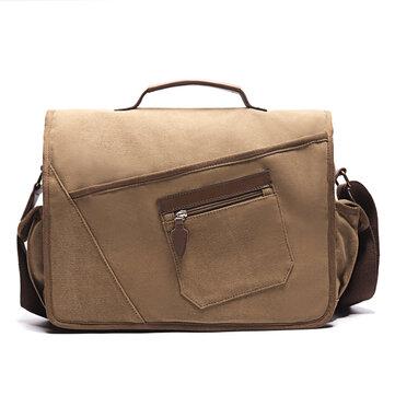 Ekphero Men Retro Messenger Bag Shockproof Shoulder Bag with 15.6 inch Laptop Pocket