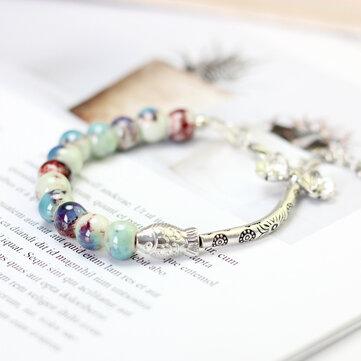 Vintage Colorful Beads Cuff Bracelets Silver Fish Pattern Ceramic Bracelet Ethnic Jewelry for Women