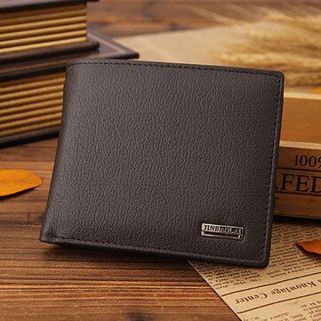 Men Genuine Leather Vintage Business Short Wallet Card Holder