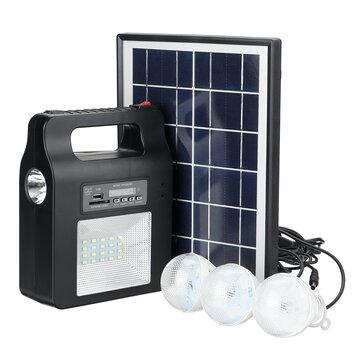 Solar Power Radio Panel Generator LED Light USB Charger System FM Outdoor Garden Decorative Night Light